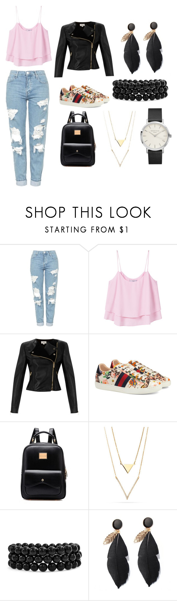 """""""Без названия #6"""" by borodinapolina ❤ liked on Polyvore featuring Topshop, MANGO, Temperley London, Gucci and Bling Jewelry"""