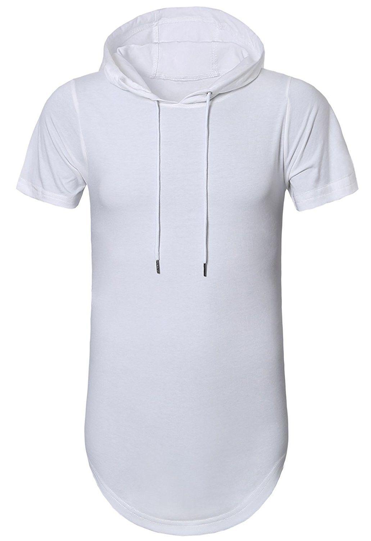 Men Hipster Hip Hop Hoodie Side Zipper Cure Hem  Tshirt Short Sleeve Streetwear