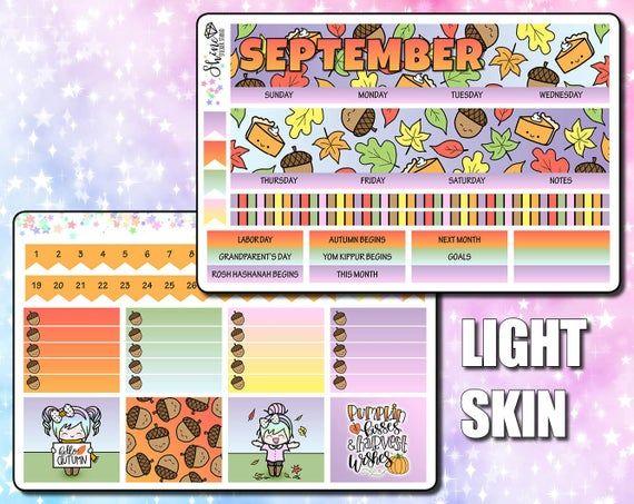 September 2020 ECLP Monthly Kit - Luna Hello Autumn Planner Stickers Erin Condren Life Planner ECLP Month Deluxe Monthly Stickers #helloautumn