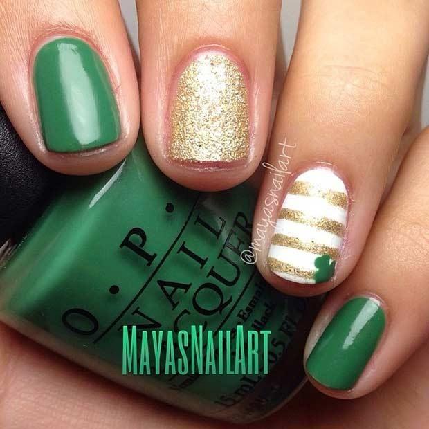 the most pretty Green Plaid Clover Nails 2018   Diseños de uñas ...