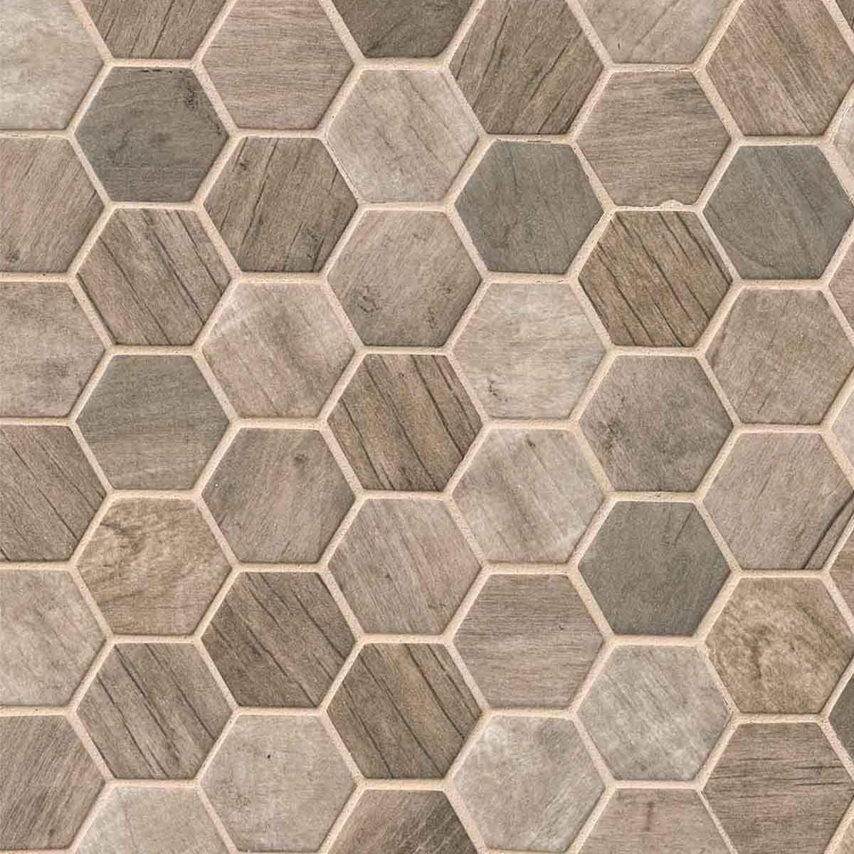 Driftwood 2 Quot Hexagon 6mm Glass Mosaic Tile Glass Mosaic