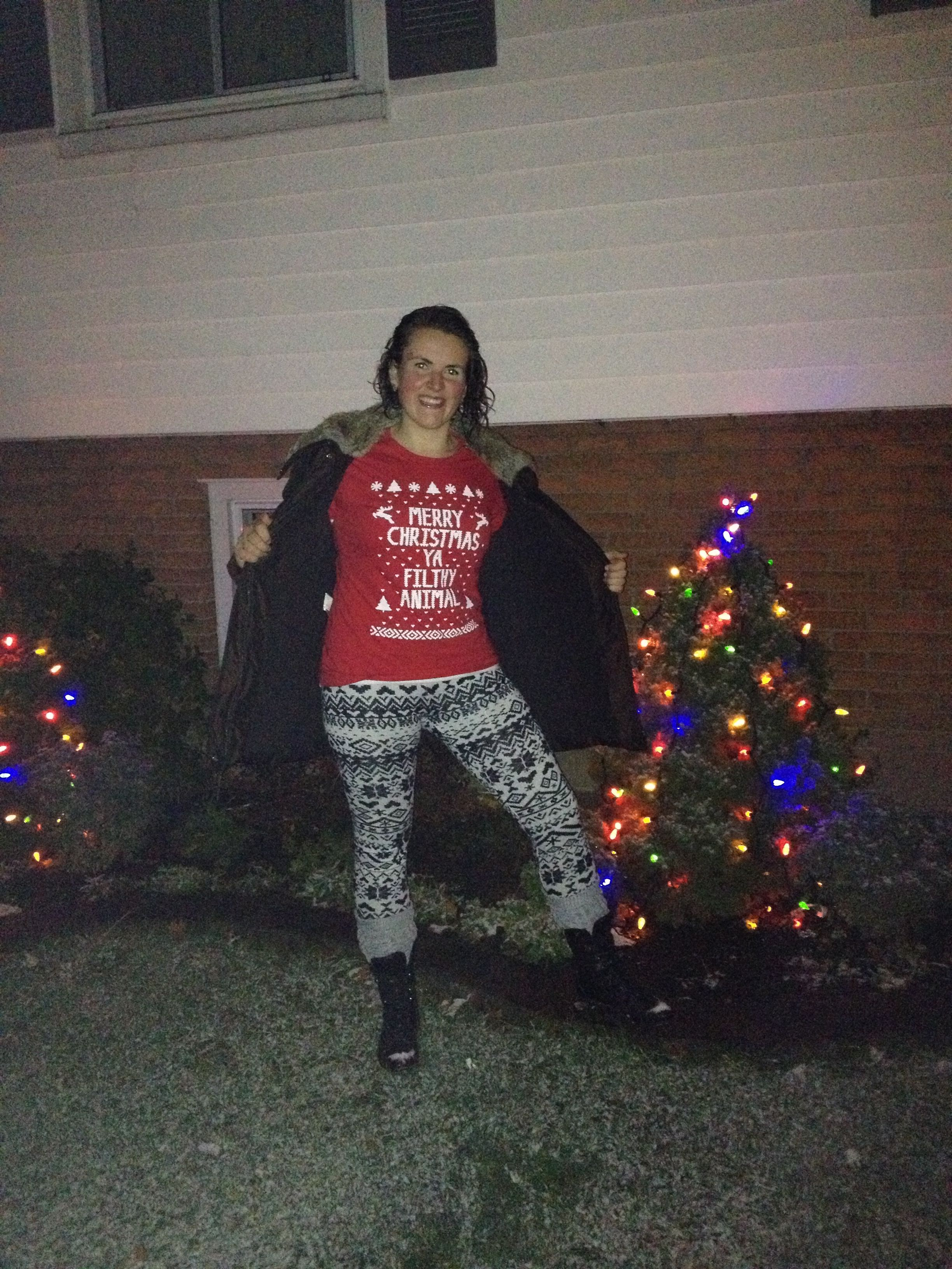 Ugly Christmas sweater party outfit! eBay leggings and top!