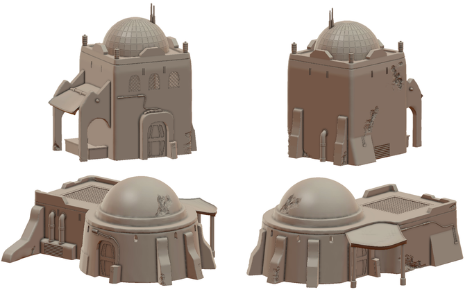 Sci-Fi Desert Trading Post - 3D Printable Terrain by War Scenery