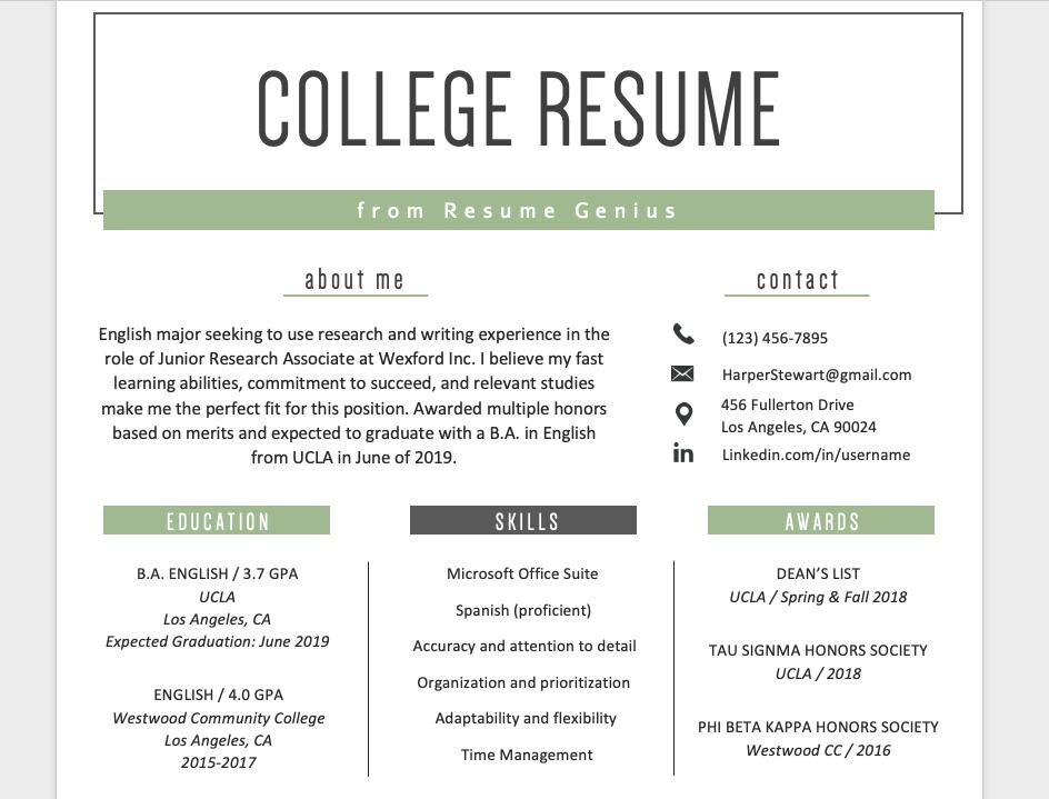 Education Section Education resume