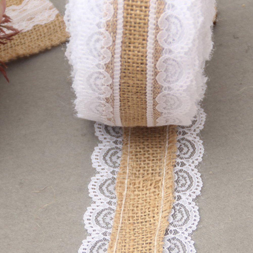 10m Natural Jute Burlap Hessian Lace Ribbon Roll White Lace Vintage Wedding Decoration Wedding Look Burlap Ribbon Burlap Ribbon Crafts Vintage Wedding Party
