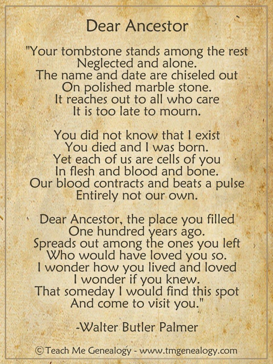 "Teach Me Genealogy ""Dear Ancestor"" Poem by Walter Butler"