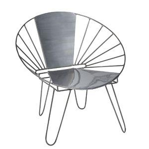 Fauteuil bas forme ronde en métal gris Jardin d'Ulysse decoclico