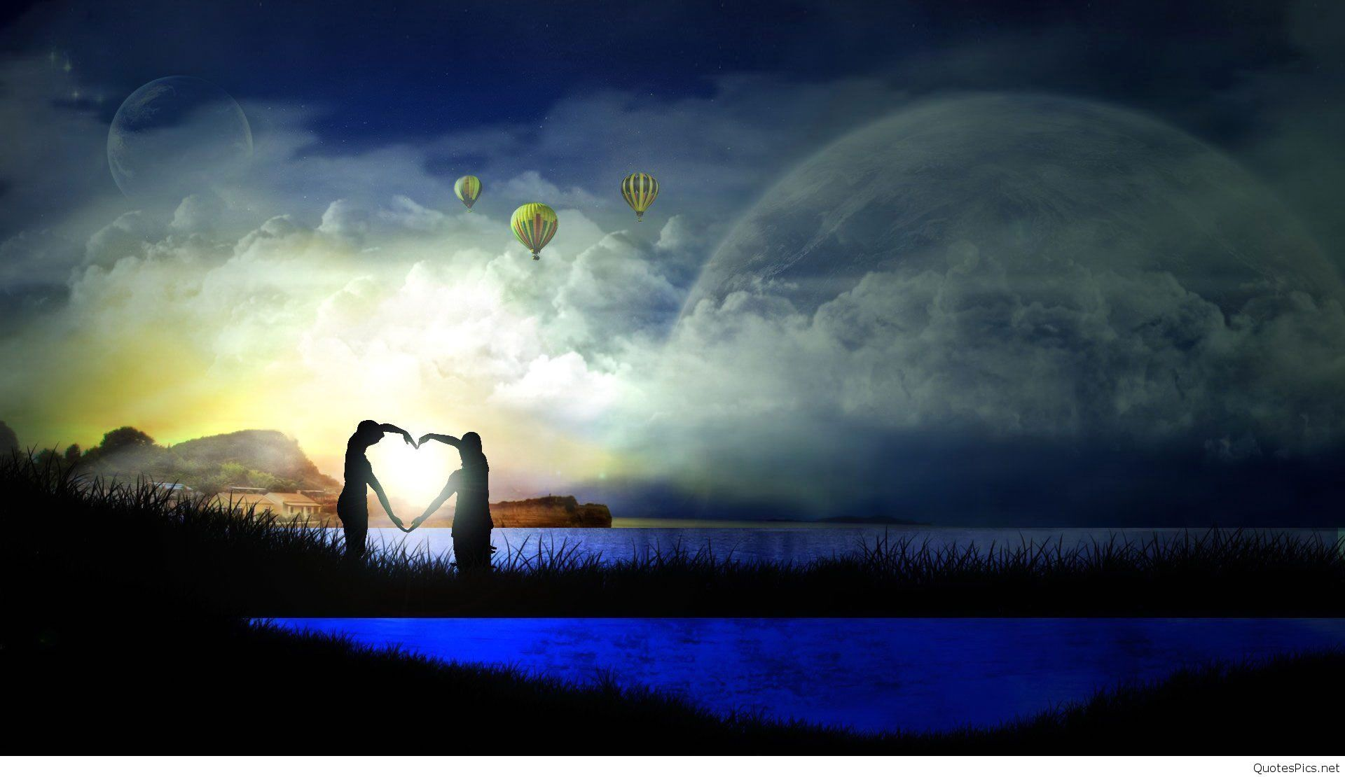 Fantasy couple love animated full screen high resolution - Couple wallpaper download ...