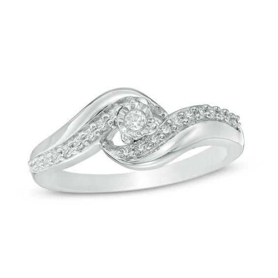 Zales 1/5 CT. T.w. Diamond Bypass Heart Promise Ring in Sterling Silver