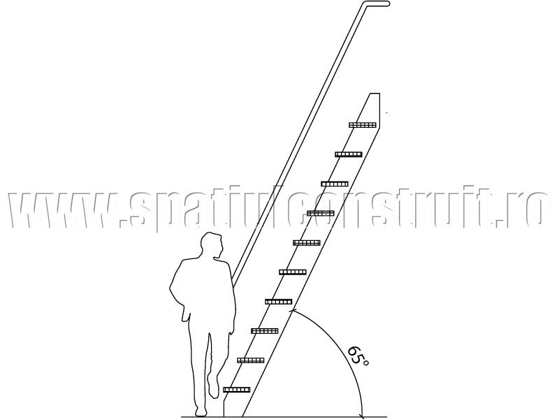 Staircases: general concepts & classifications/ Scari: notiuni generale, clasificari >> Staircase with 65° inclination/ Scara cu inclinatie de 65°