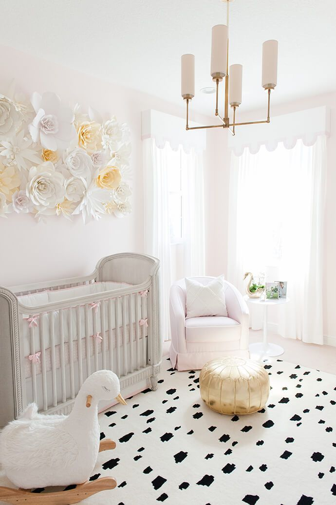 Touring A Sweet, Swan-Filled Nursery | Glitter Guide  Love the paper flower wall!