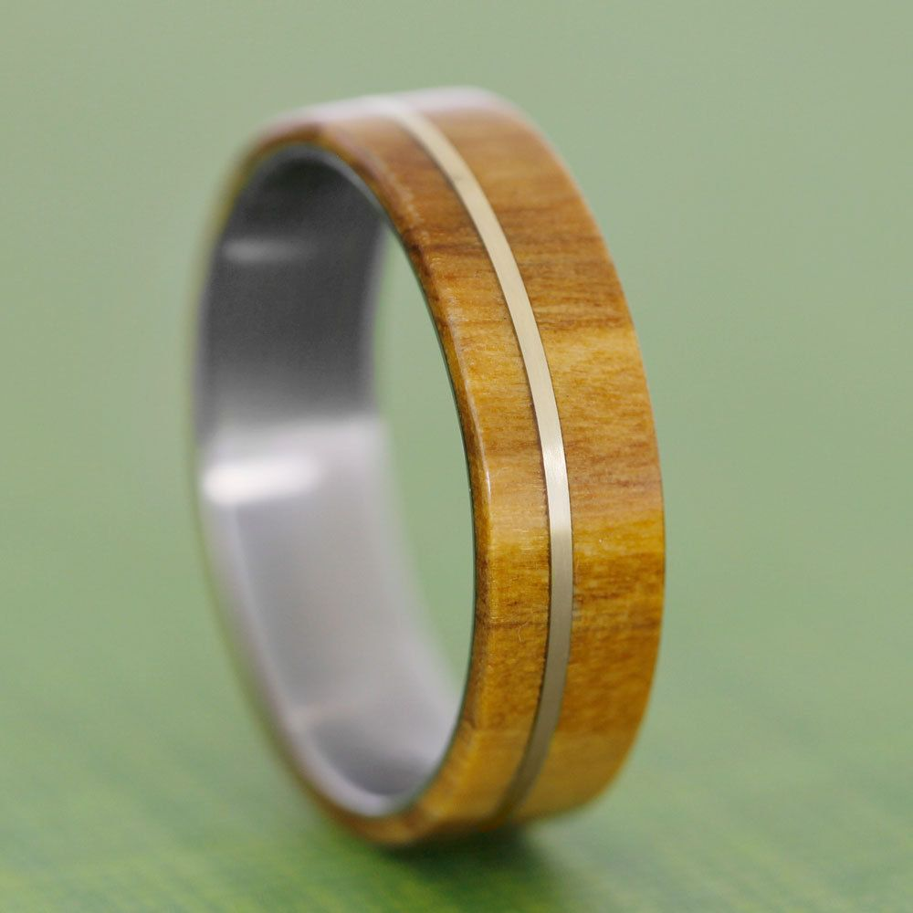 Olive Wood Ring With A 14k Yellow Gold Pinstripe Wishful Thinking