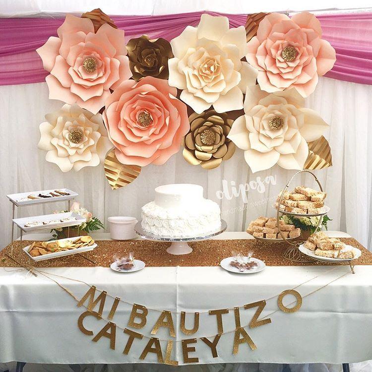 Bautizo Bodas Pinterest Bautizo, Flores de papel y Fiestas