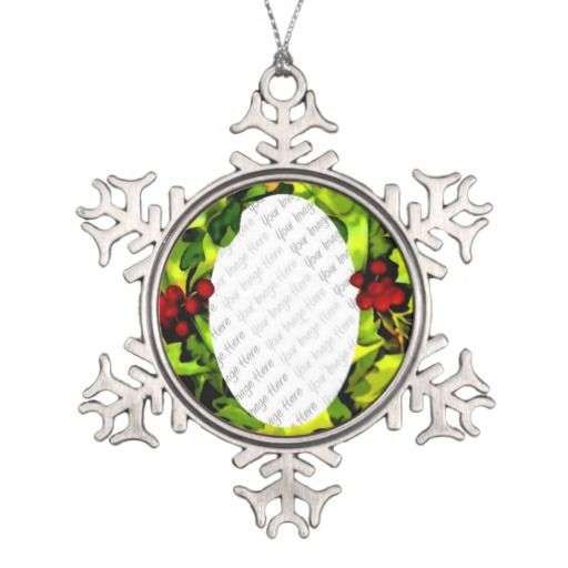 Holly Photo Frame personalized Ornament from Jan4insight* on Zazzle - easy to customize with your favorite photo!