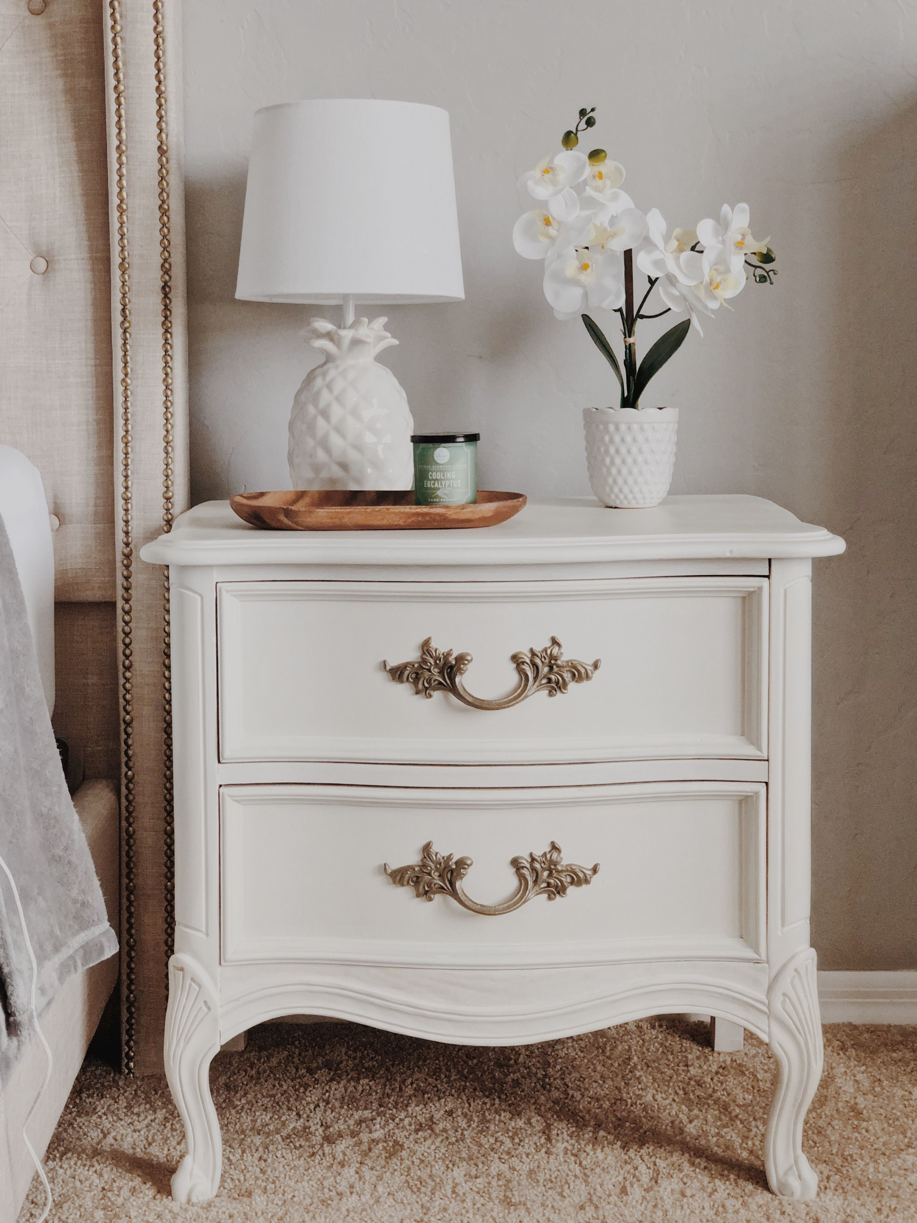 DIY makeover on an antique French Provincial nightst