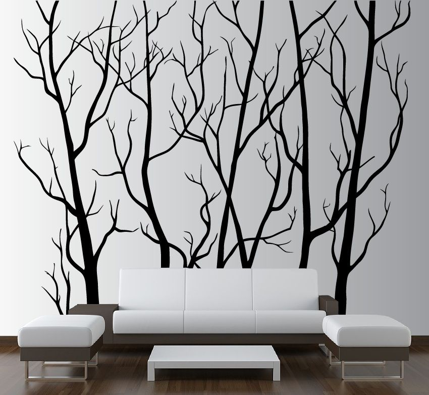 Large Wall Vinyl Tree Forest Decal Removable 1111 Bird Wall Decals Tree Wall Art Tree Wall Decal