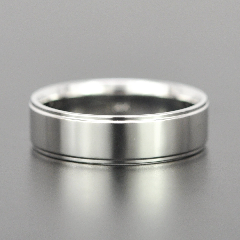 14k white gold 6mm modern mens wedding band with edge