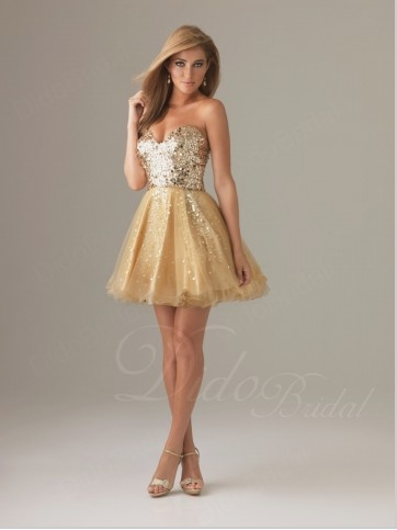 Gold Sweet 16 Dresses Short