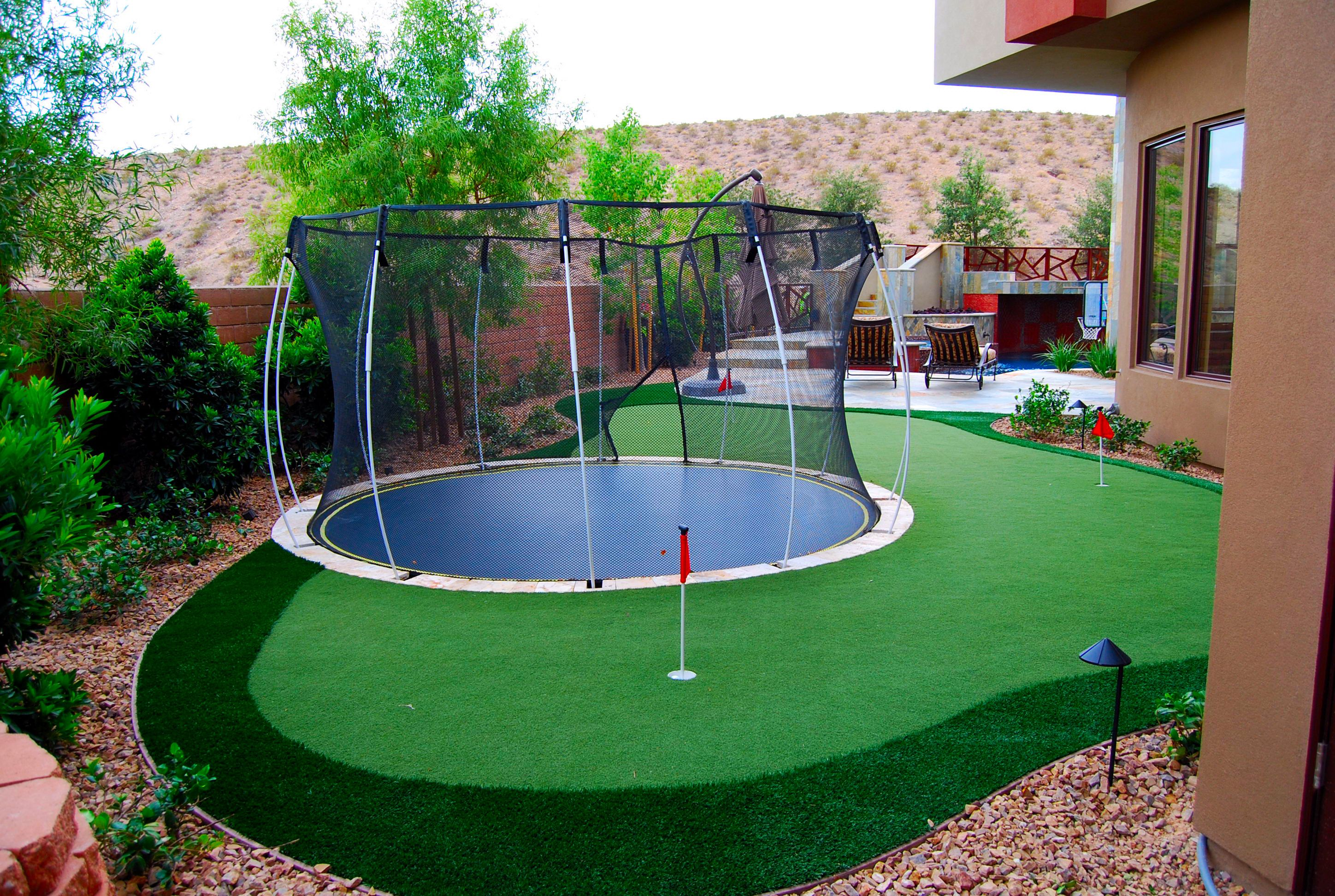 Backyard Putting Green With Sports Turn Integration For A Basketball