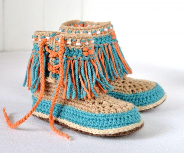 Baby Moccasin Fringe Booties For Kids Crochet Pattern Crochet