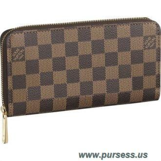8aa689557287 Discounts Women Louis Vuitton Damier Ebene Canvas Zippy Wallet Brown N60015