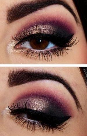 Grey plum smokey eye google search   gold eye makeup, purple eye.