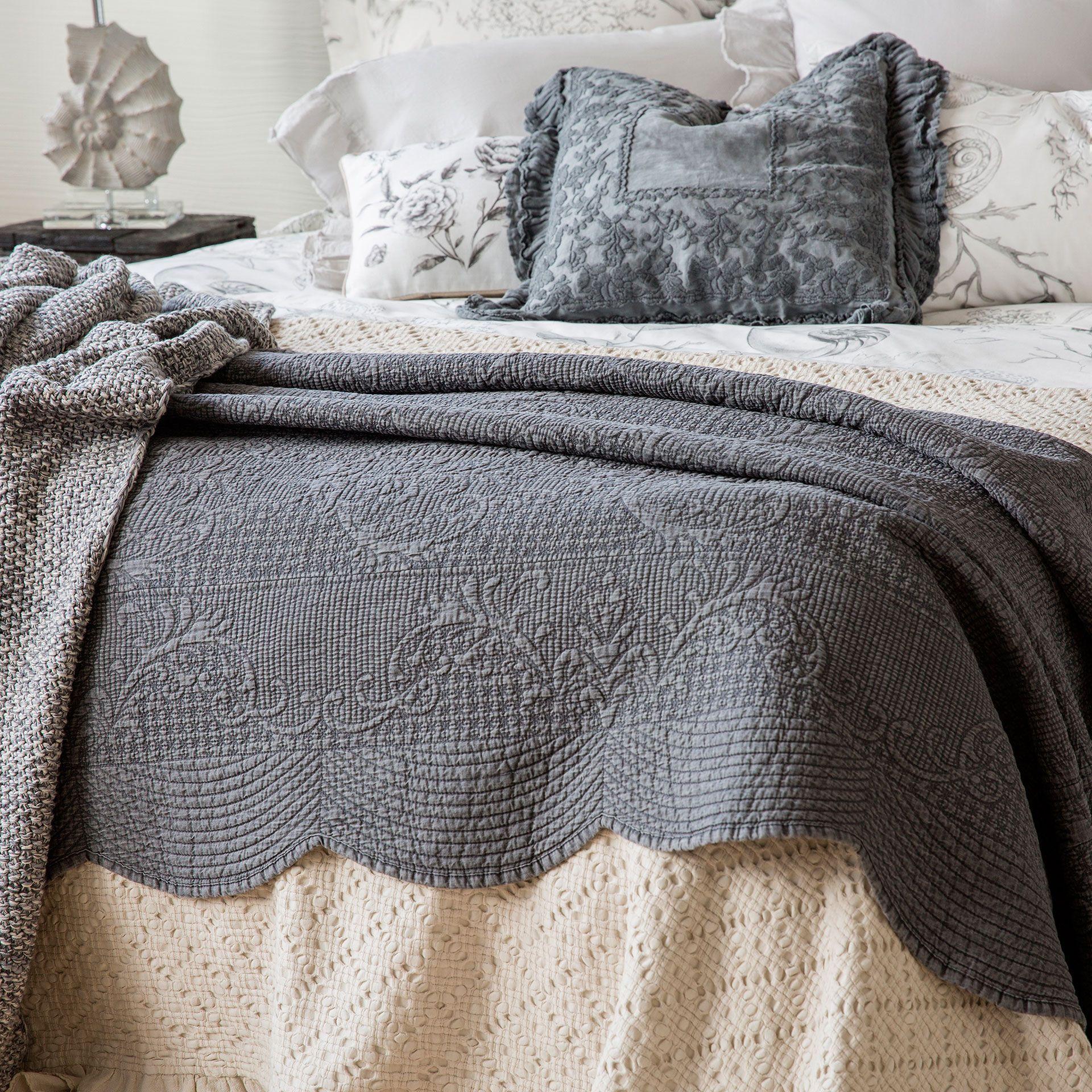 Edred n y funda de coj n denim lavado gris edredones - Cojines cama zara home ...