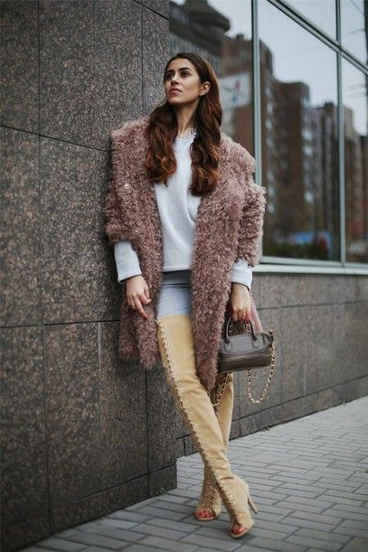 9157067ce31 tina sizonova blogger jeans bag thigh high boots lace-up shoes peep toe  boots dusty pink fluffy winter outfits winter coat