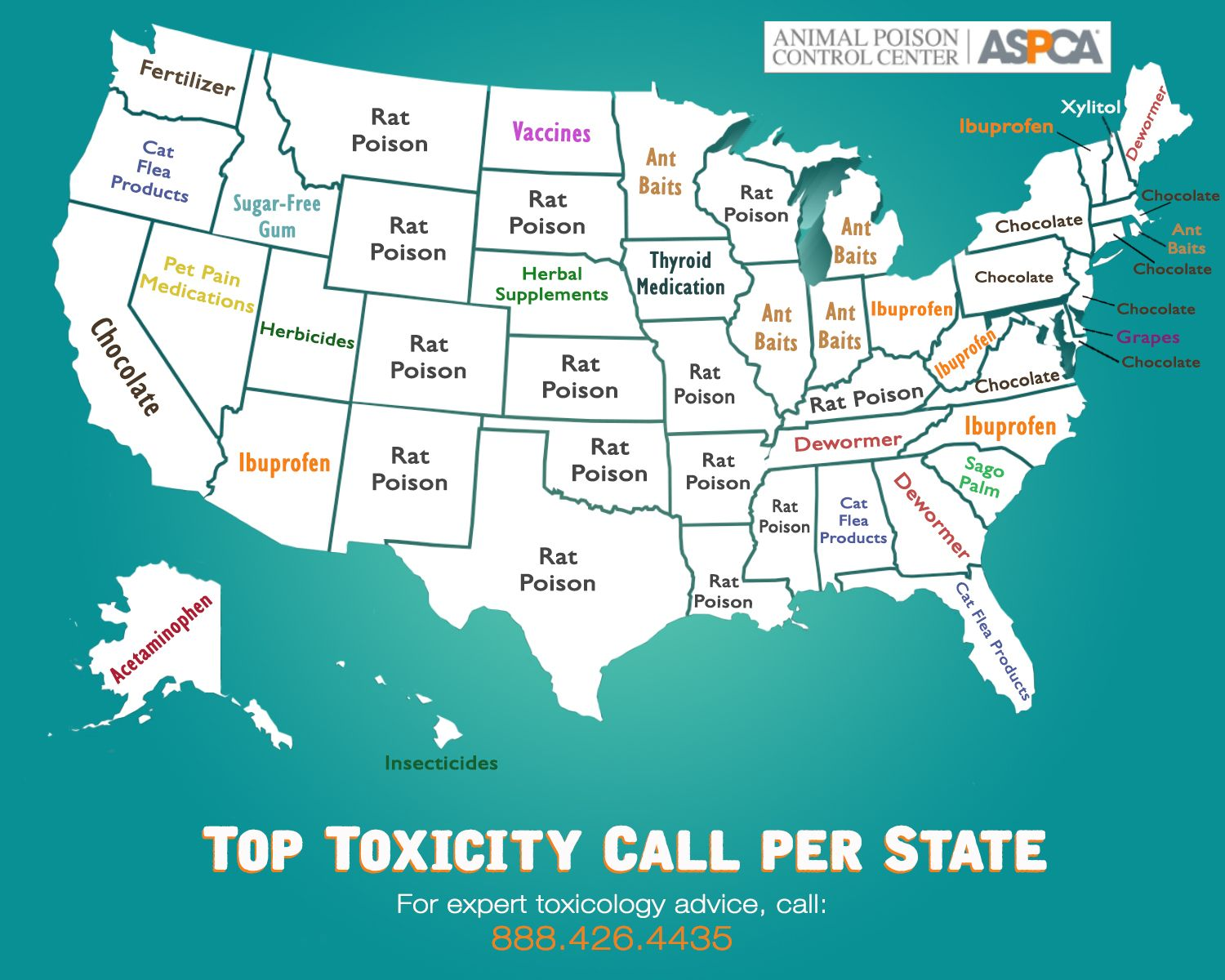 What S The Top Pet Toxin In Your State The Aspca Animal Poison Control Center Shares Its Most Frequent Call Topics Pets Aspca Love Your Pet