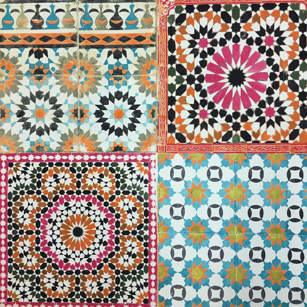 Deco4Walls Moroccan Tile Wallpaper Blue mosaic tile