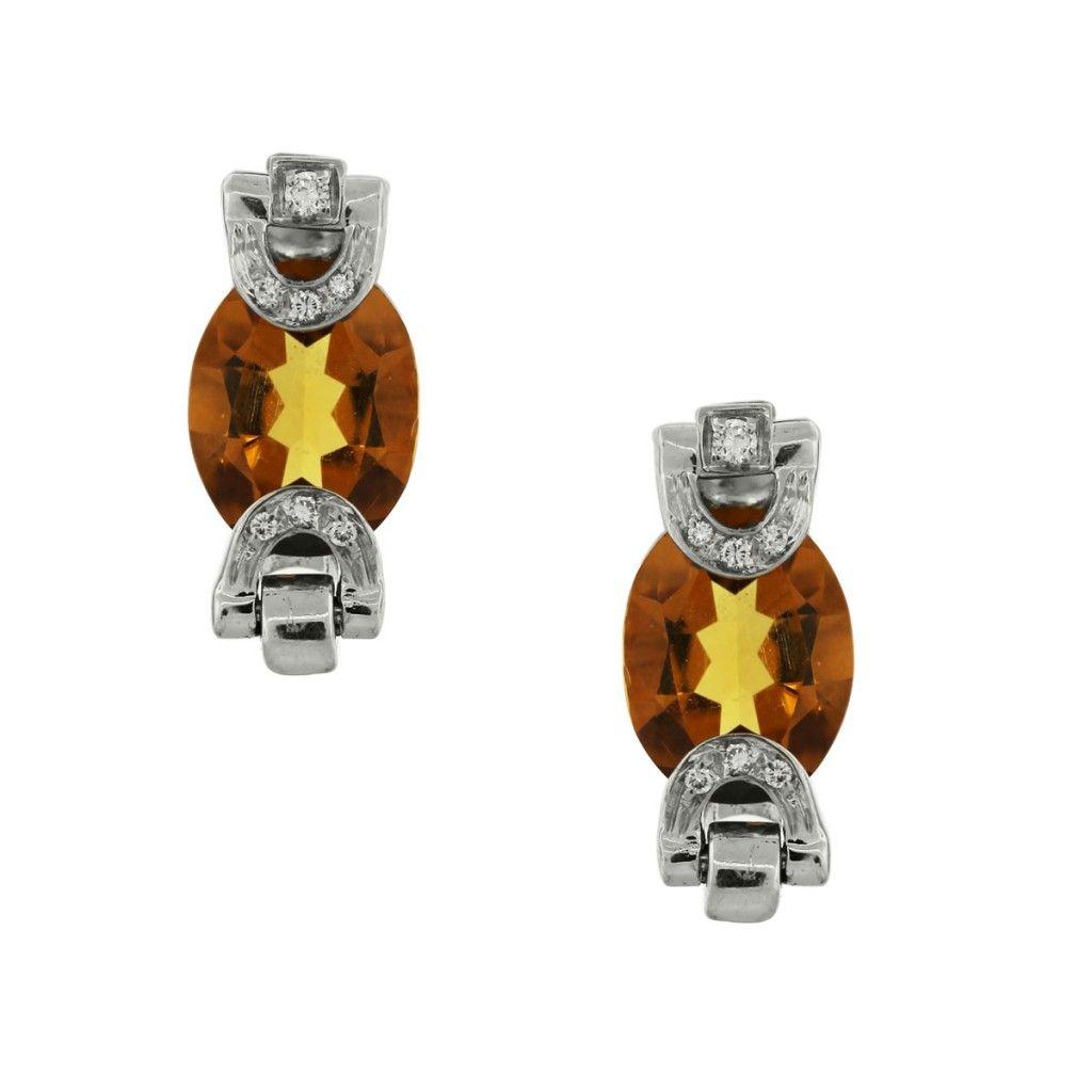 14k White Gold Oval Citrine & Diamond Earrings