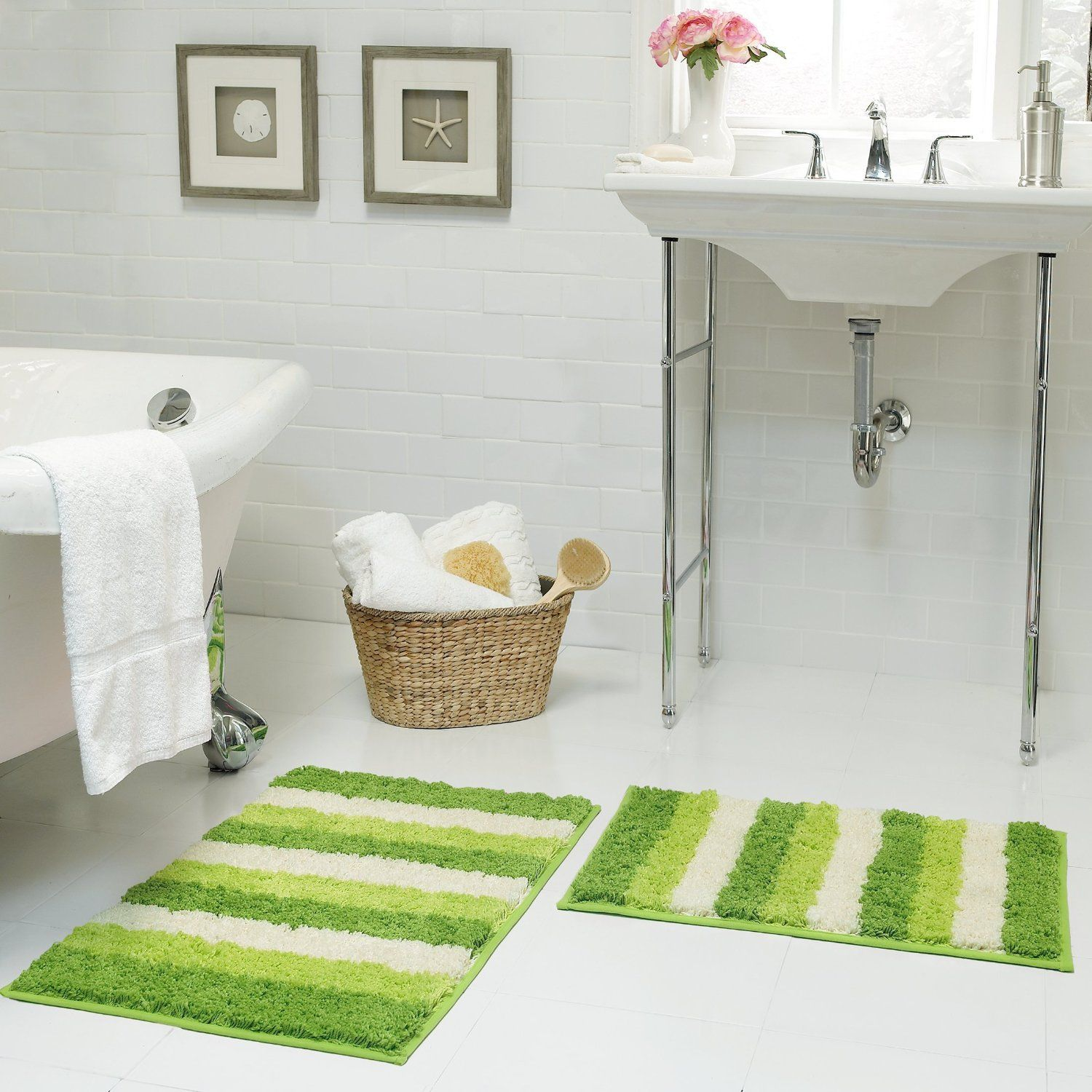 lime green bath mats with stripes