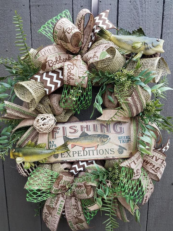 fishing burlap wreath fisherman wreath gifts for dad father s day gift man