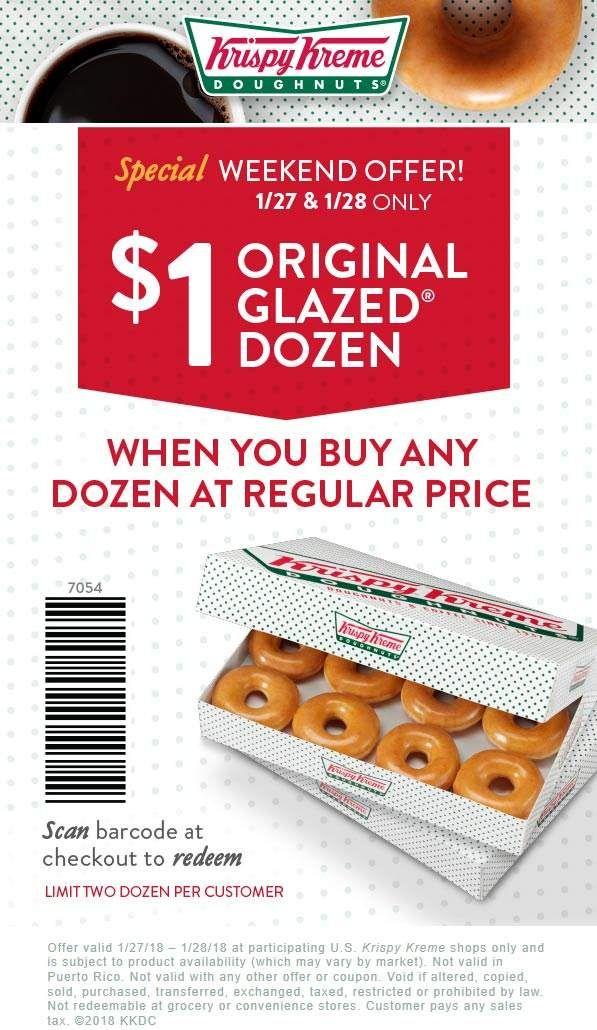 Pinned January 27th Second dozen for 1 at KrispyKreme