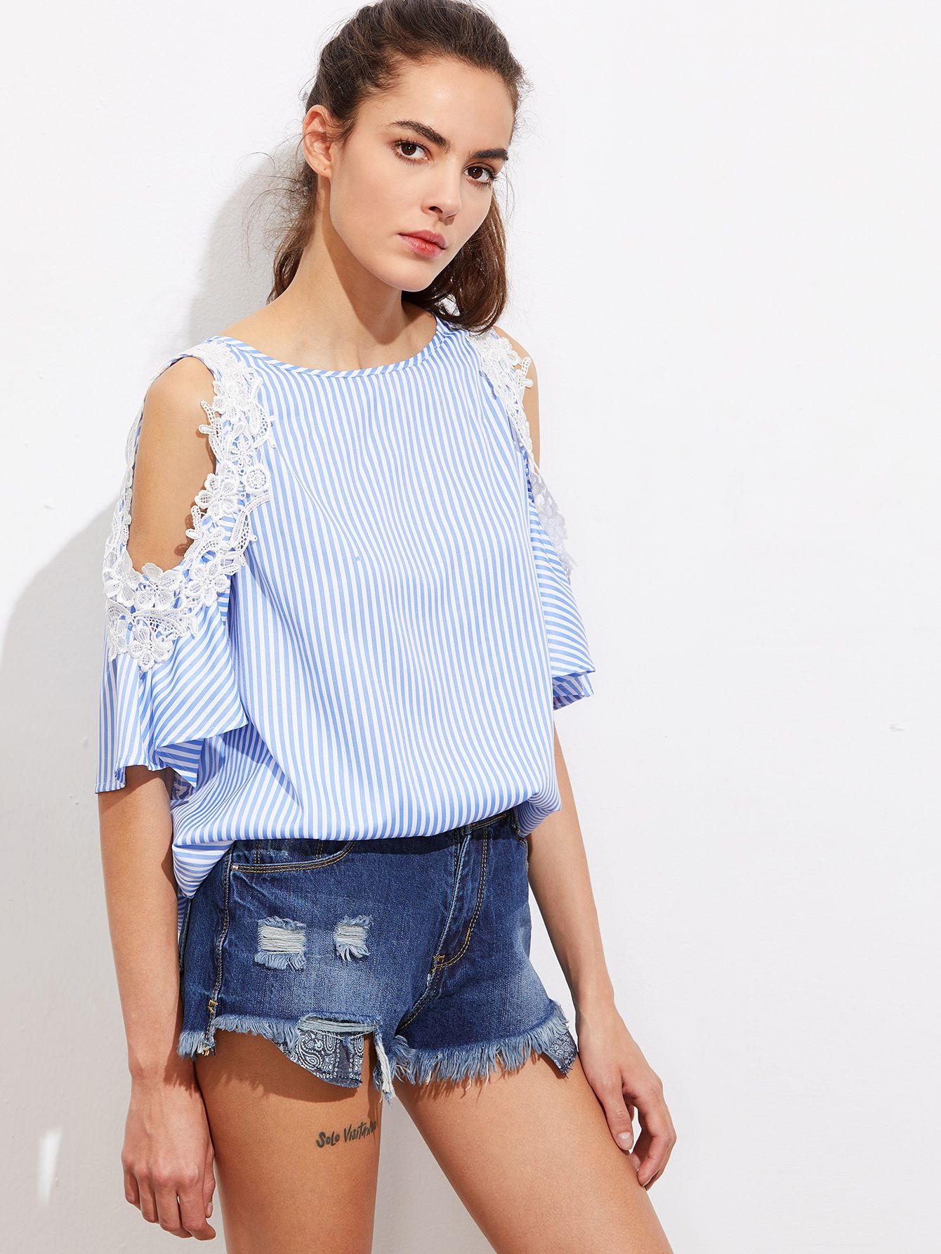 4f72dd037c blouse170503701_2 Stripes Fashion, Beach Casual, Casual Tops, Types Of  Sleeves, Half Sleeves