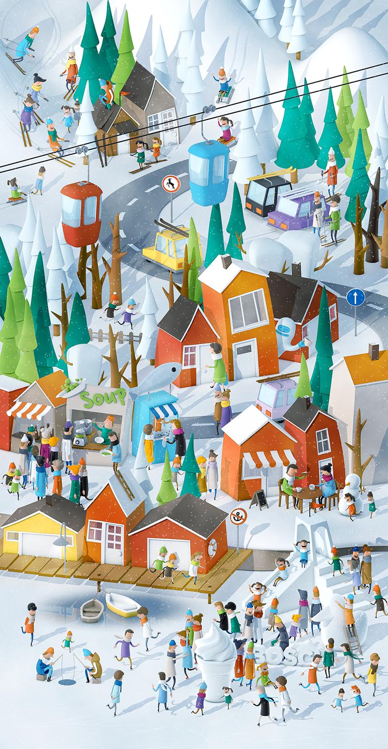 Winter Village Full Png By Anna Paschenko Digital Art Illustration Illustration Winter Wonderland