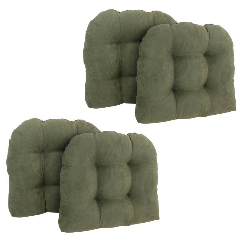 Blazing Needles Microsuede U Shaped Indoor Chair Cushion   Set Of 4