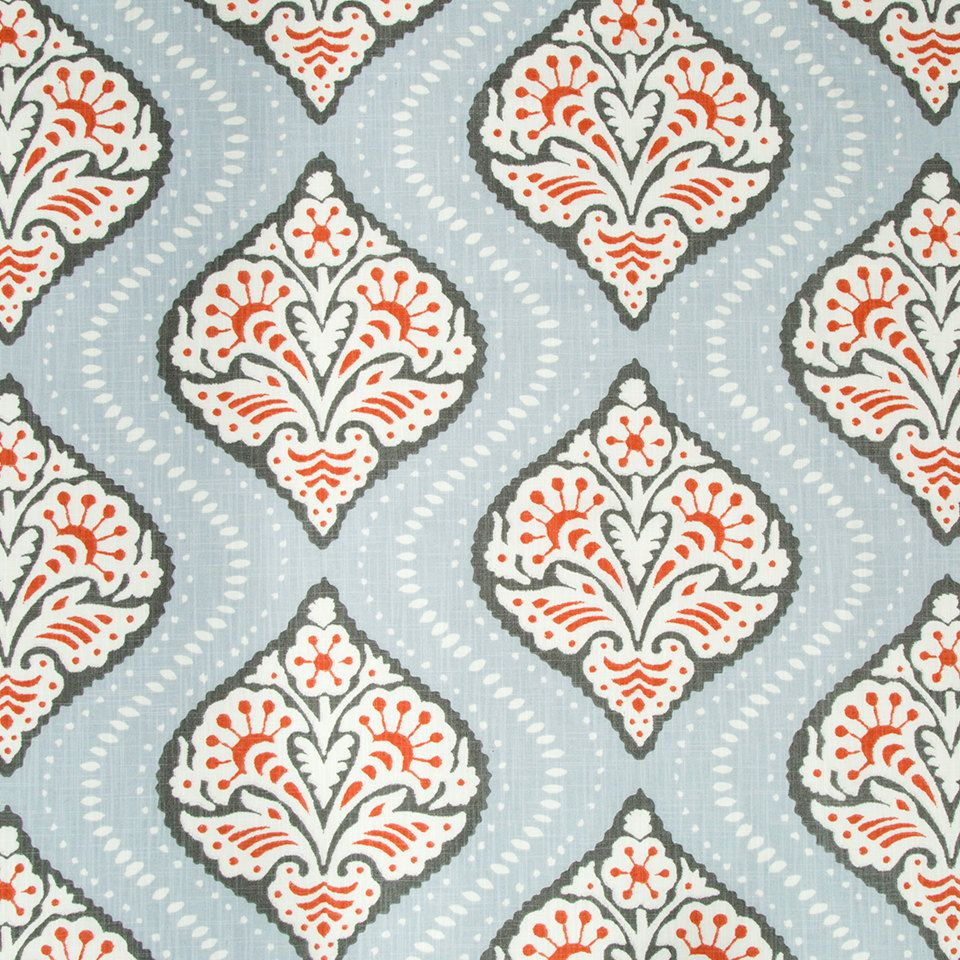 Coral Grey Trellis Upholstery Fabric - Light Blue White Grey ...