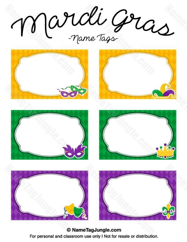 Free Printable Mardi Gras Name Tags The Template Can Also Be Used - Free printable name tags template