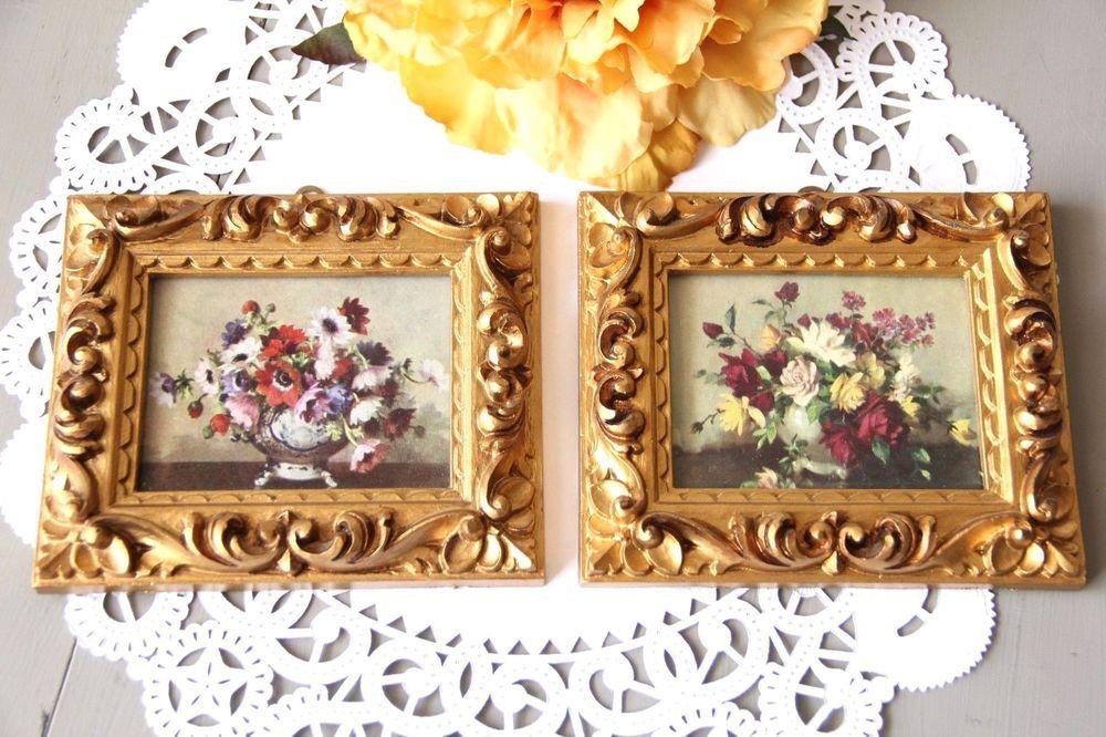 2 Vintage Ornate Gold Gilt Florentine Picture Frames Carved Made In