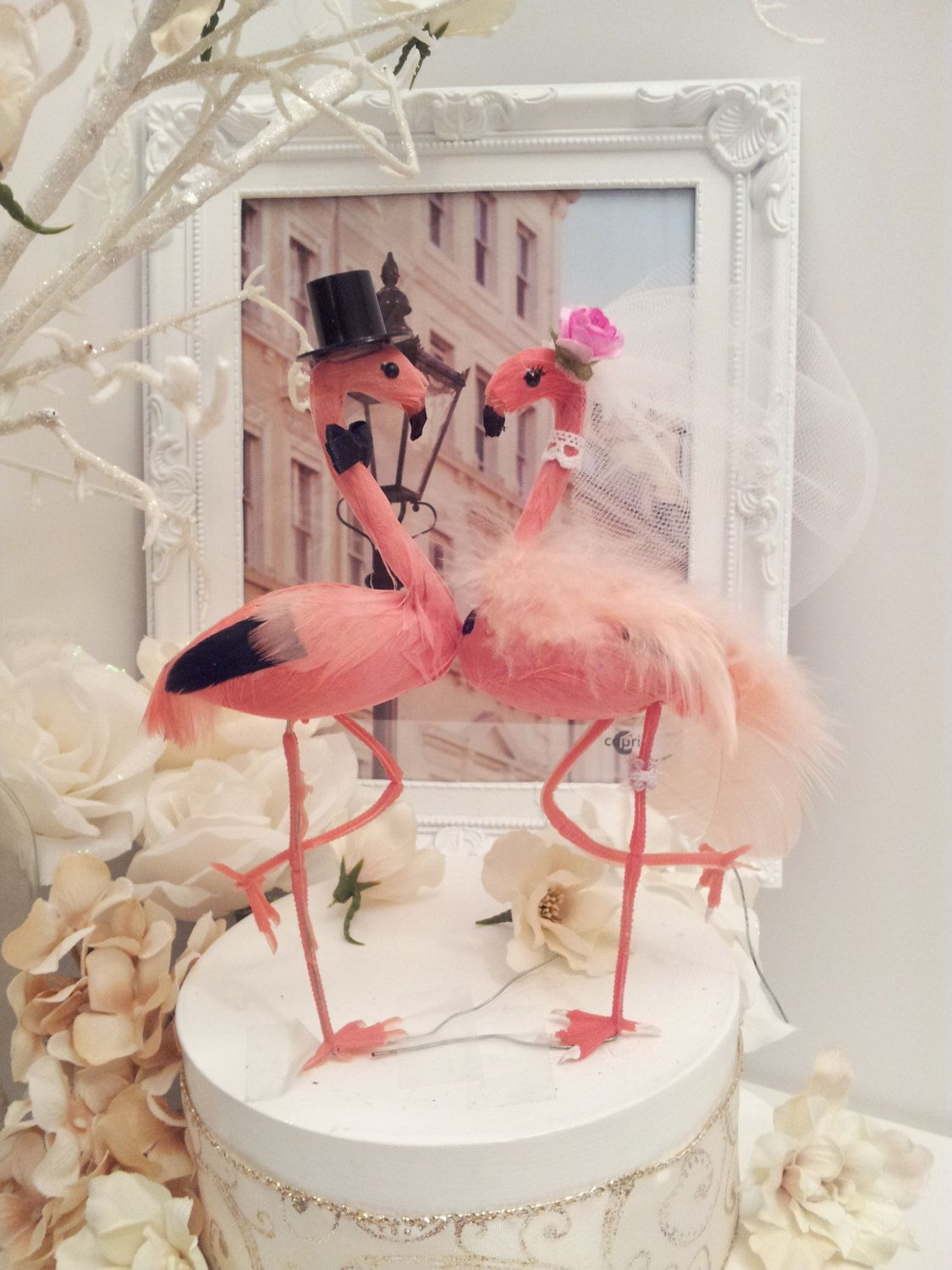 SALE 5 pink flamingo wedding cake topper by MissRoseDanae ...