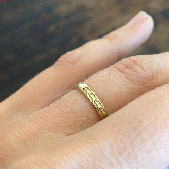 2mm Wedding Band Gold Chevron Ring Arrow By Meanderworks