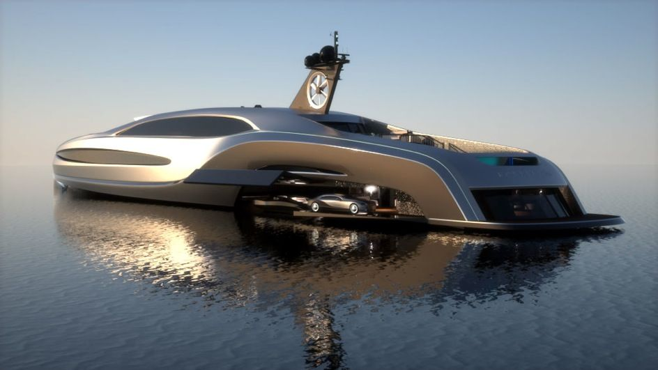 Gray Design has unveiled the beautiful Yacht Soverign, splendid mega-yacht with a length of almost 100 meters to 14 meters wide you can travel at a maximum speed of around 30 knots. And it's not like you can imagine, the hull also contains an integrated garage big enough to allow you to host a limousine or a Supercar.