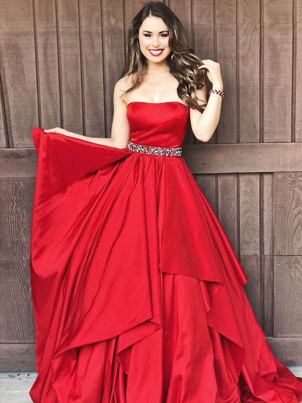 Charming ALine Strapless Red Long PromEvening Dress With Beading