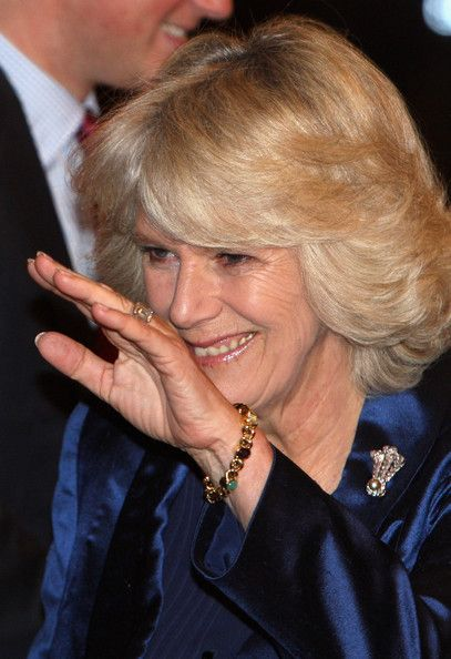 HRH the Duchess of Cornwall wearing a brooch representing the Prince of Wales' feathers and a gold bracelet with various cabochon stones she often wears.