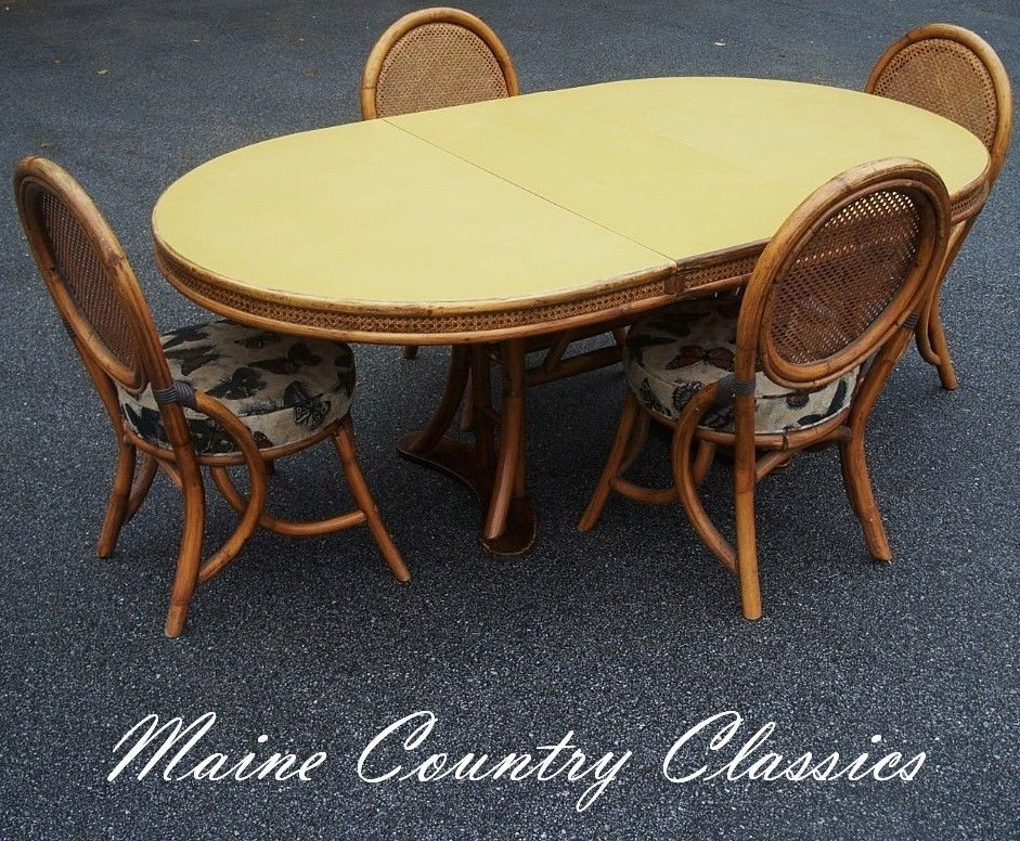 Vintage RATTAN CANE U0026 FORMICA TABLE U0026 4 CHAIRS DINING SET Mid Century  Modern In Antiques