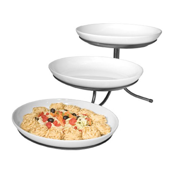15w X 29d X 12h 3 Step Incline Oval Platter Stand Platinum Tiered Stand 3 Tier Stand Serving Dishes