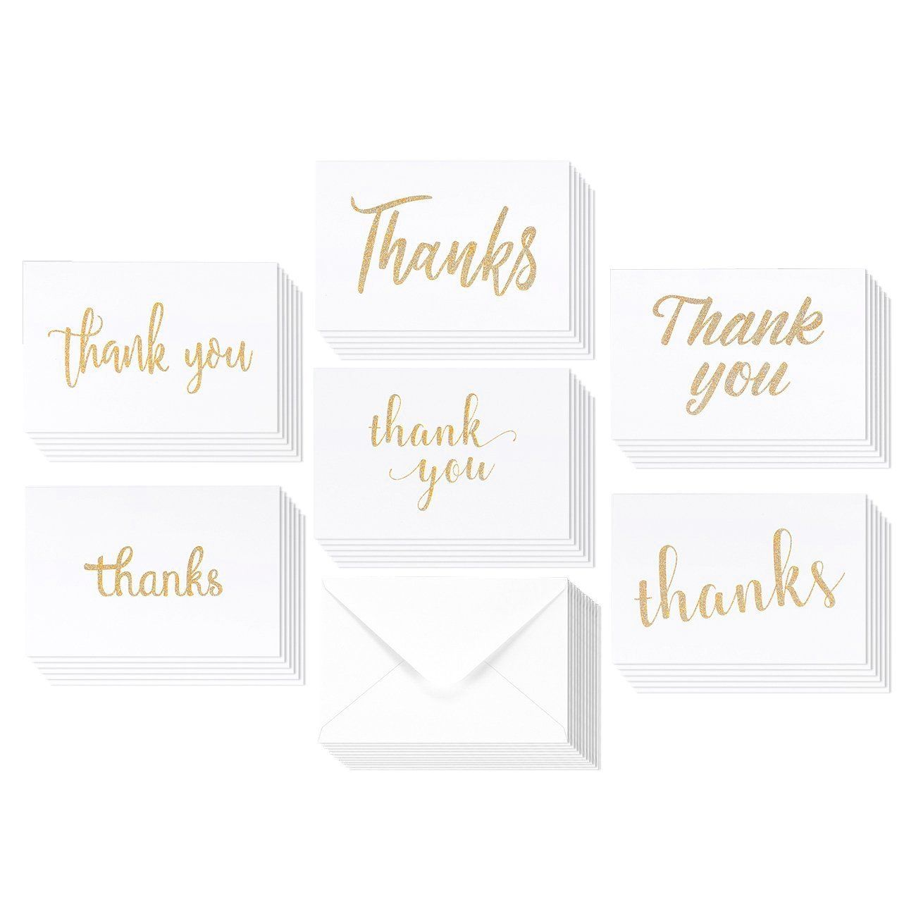 Amazon 36 Pack Blank Thank You Gold Glitter Greeting Cards 6