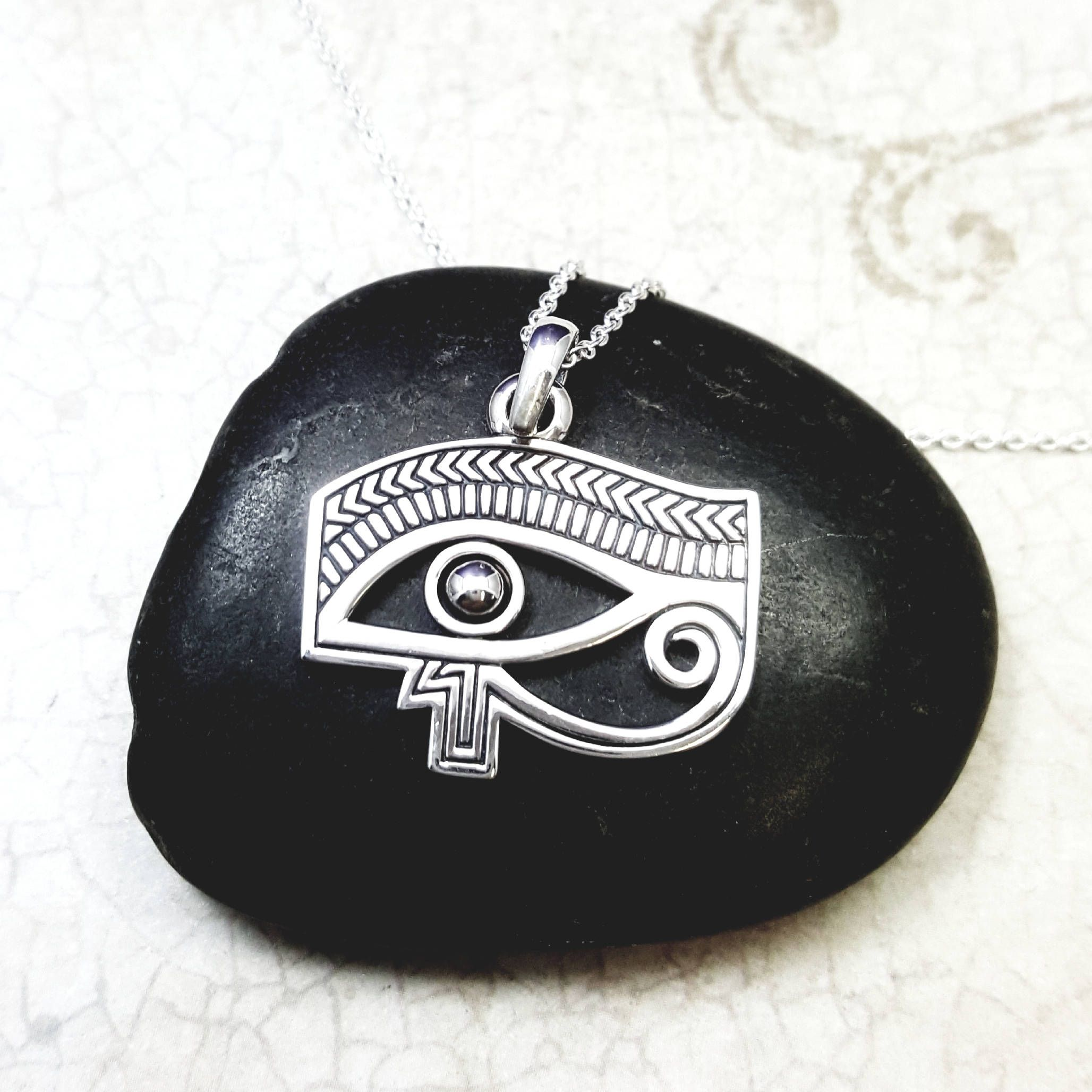Eye of horus necklace solid sterling silver all seeing eye pendant eye of horus necklace solid sterling silver all seeing eye pendant eye of ra egyptian protection amulet goddess necklace cleopatra mozeypictures Images