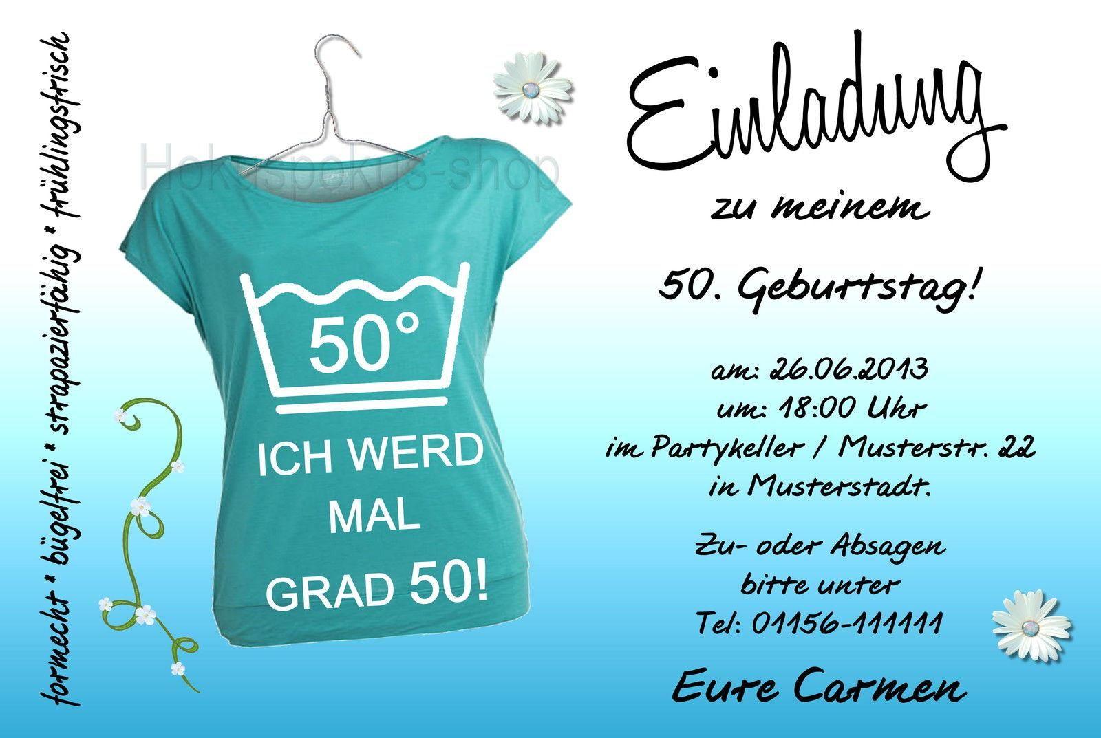 Einladungskarten Zum 50 Geburtstag Zum Ausdrucken